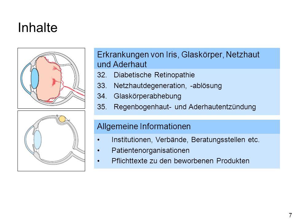 7 Inhalte Erkrankungen von Iris, Glaskörper, Netzhaut und Aderhaut 32. Diabetische Retinopathie 33. Netzhautdegeneration, -ablösung 34. Glaskörperabhe
