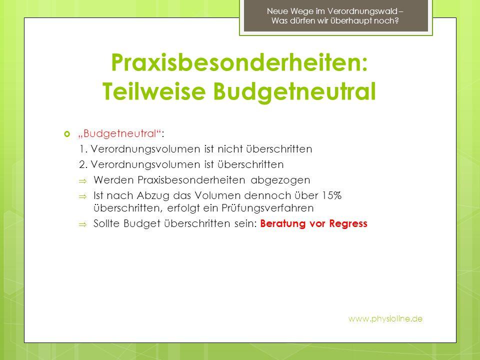 """Praxisbesonderheiten: Teilweise Budgetneutral  """"Budgetneutral"""": 1. Verordnungsvolumen ist nicht überschritten 2. Verordnungsvolumen ist überschritten"""