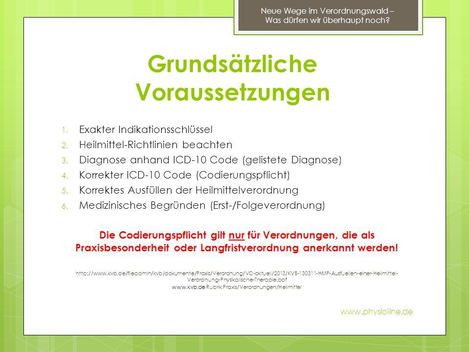 Grundsätzliche Voraussetzungen 1. Exakter Indikationsschlüssel 2. Heilmittel-Richtlinien beachten 3. Diagnose anhand ICD-10 Code (gelistete Diagnose)