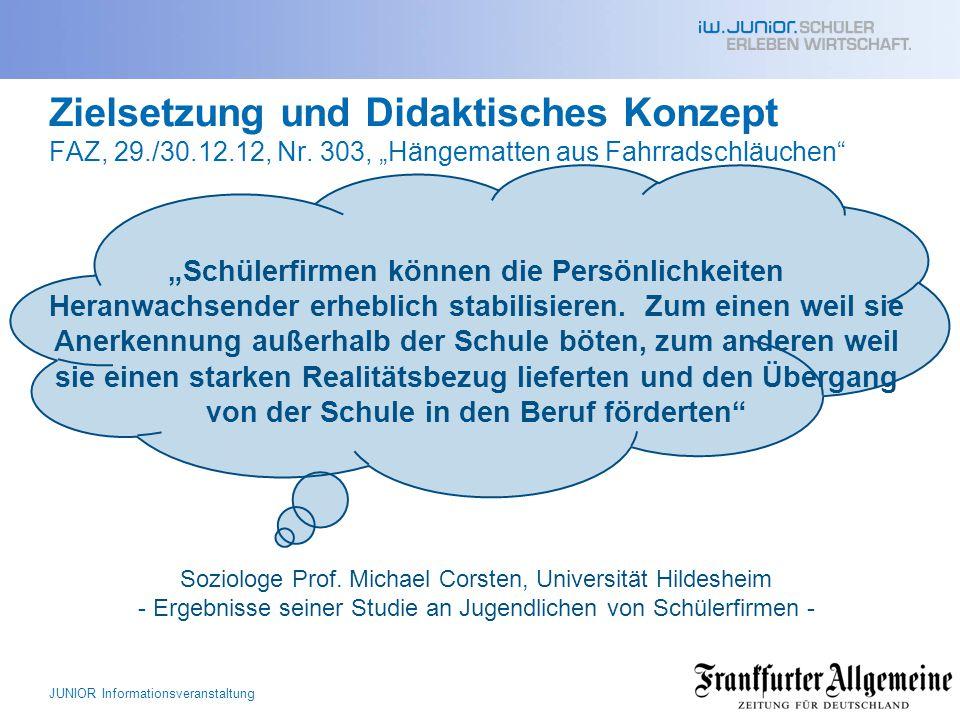 """Zielsetzung und Didaktisches Konzept FAZ, 29./30.12.12, Nr. 303, """"Hängematten aus Fahrradschläuchen"""" """"Schülerfirmen können die Persönlichkeiten Heranw"""