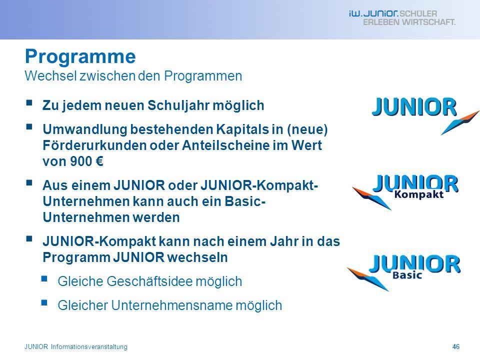 Programme Wechsel zwischen den Programmen  Zu jedem neuen Schuljahr möglich  Umwandlung bestehenden Kapitals in (neue) Förderurkunden oder Anteilsch