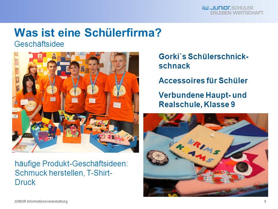Was ist eine Schülerfirma? Geschäftsidee Gorki`s Schülerschnick- schnack Accessoires für Schüler Verbundene Haupt- und Realschule, Klasse 9 JUNIOR Inf