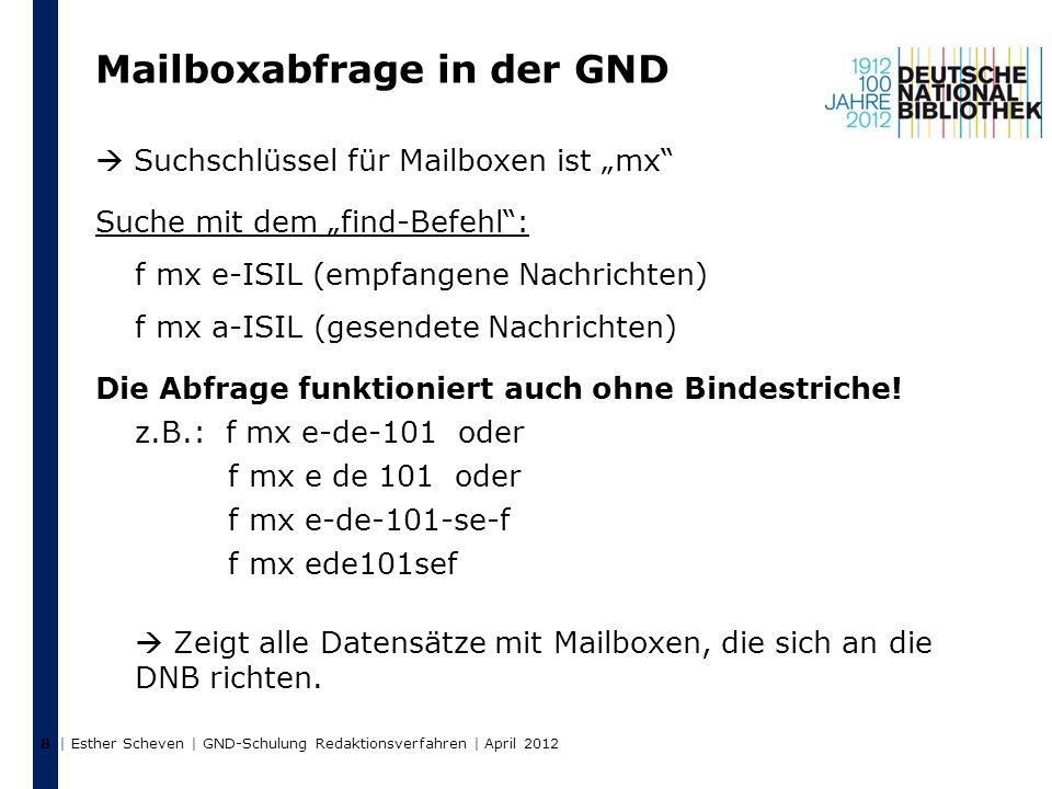 """Mailboxabfrage in der GND  Suchschlüssel für Mailboxen ist """"mx Suche mit dem """"find-Befehl : f mx e-ISIL (empfangene Nachrichten) f mx a-ISIL (gesendete Nachrichten) Die Abfrage funktioniert auch ohne Bindestriche."""