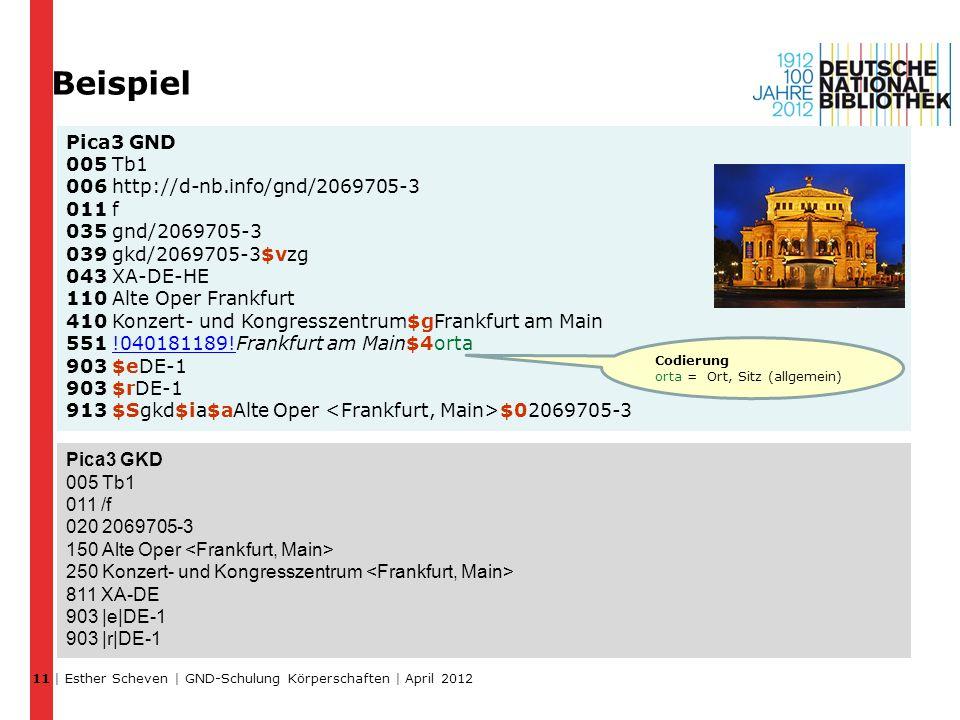 | Esther Scheven | GND-Schulung Körperschaften | April 2012 11 Pica3 GND 005 Tb1 006 http://d-nb.info/gnd/2069705-3 011 f 035 gnd/2069705-3 039 gkd/2069705-3$vzg 043 XA-DE-HE 110 Alte Oper Frankfurt 410 Konzert- und Kongresszentrum$gFrankfurt am Main 551 !040181189!Frankfurt am Main$4orta 903 $eDE-1 903 $rDE-1 913 $Sgkd$ia$aAlte Oper $02069705-3 Pica3 GKD 005 Tb1 011 /f 020 2069705-3 150 Alte Oper 250 Konzert- und Kongresszentrum 811 XA-DE 903 |e|DE-1 903 |r|DE-1 Codierung orta = Ort, Sitz (allgemein) Beispiel