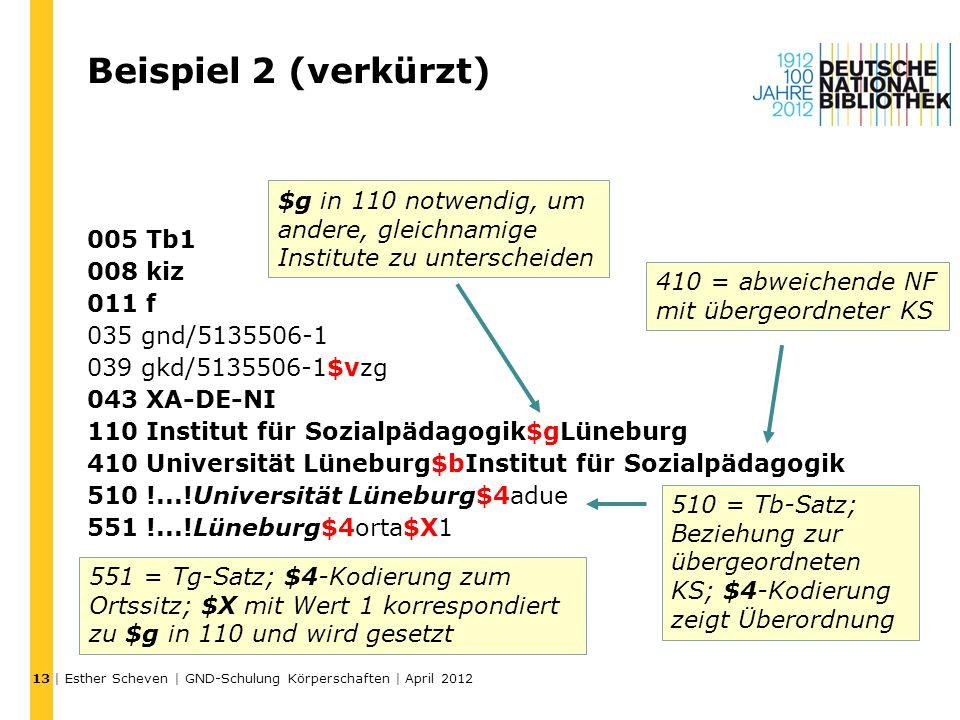 Beispiel 2 (verkürzt) 005 Tb1 008 kiz 011 f 035 gnd/5135506-1 039 gkd/5135506-1$vzg 043 XA-DE-NI 110 Institut für Sozialpädagogik$gLüneburg 410 Univer