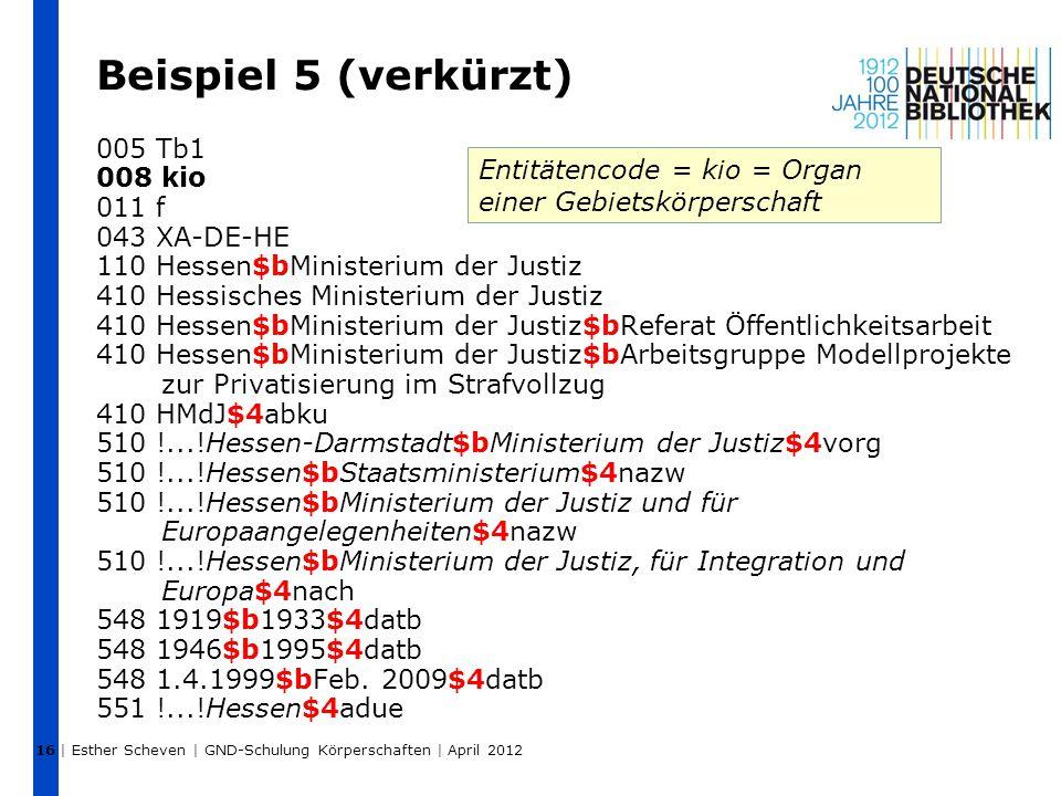Beispiel 5 (verkürzt) 005 Tb1 008 kio 011 f 043 XA-DE-HE 110 Hessen$bMinisterium der Justiz 410 Hessisches Ministerium der Justiz 410 Hessen$bMinister