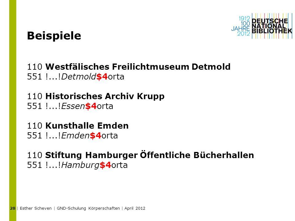 Beispiele 110 Westfälisches Freilichtmuseum Detmold 551 !...!Detmold$4orta 110 Historisches Archiv Krupp 551 !...!Essen$4orta 110 Kunsthalle Emden 551