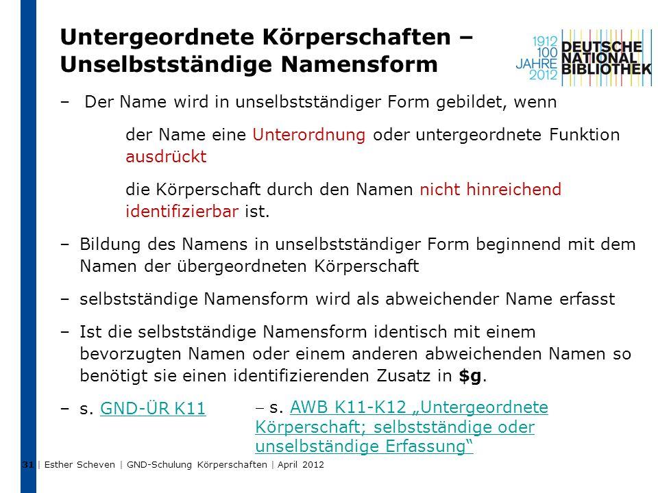 Untergeordnete Körperschaften – Unselbstständige Namensform –Der Name wird in unselbstständiger Form gebildet, wenn der Name eine Unterordnung oder untergeordnete Funktion ausdrückt die Körperschaft durch den Namen nicht hinreichend identifizierbar ist.