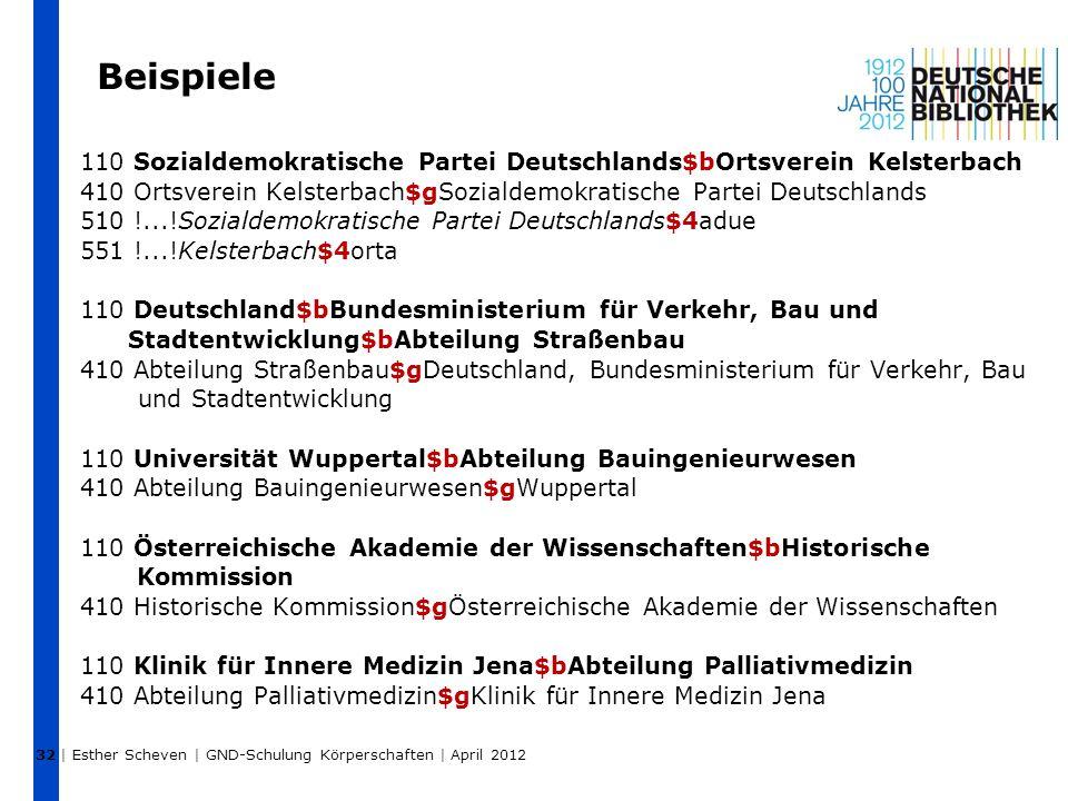 Beispiele 110 Sozialdemokratische Partei Deutschlands$bOrtsverein Kelsterbach 410 Ortsverein Kelsterbach$gSozialdemokratische Partei Deutschlands 510