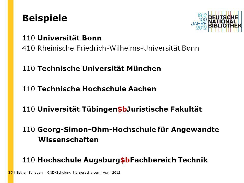 Beispiele 110 Universität Bonn 410 Rheinische Friedrich-Wilhelms-Universität Bonn 110 Technische Universität München 110 Technische Hochschule Aachen