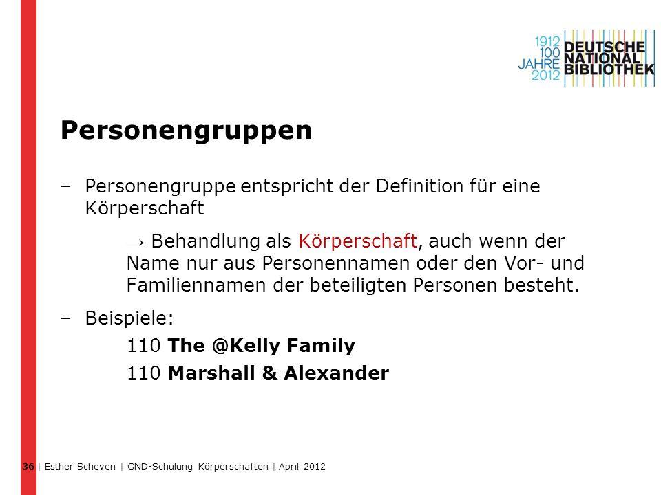 Personengruppen –Personengruppe entspricht der Definition für eine Körperschaft → Behandlung als Körperschaft, auch wenn der Name nur aus Personenname