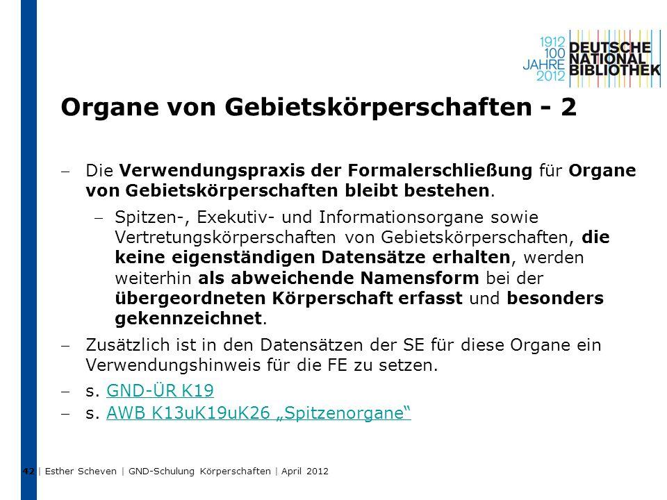 Organe von Gebietskörperschaften - 2 Die Verwendungspraxis der Formalerschließung für Organe von Gebietskörperschaften bleibt bestehen.