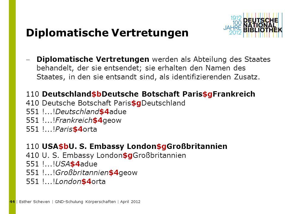 Diplomatische Vertretungen Diplomatische Vertretungen werden als Abteilung des Staates behandelt, der sie entsendet; sie erhalten den Namen des Staat
