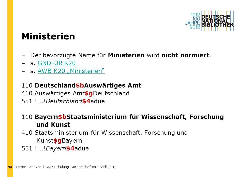 """Ministerien Der bevorzugte Name für Ministerien wird nicht normiert. s. GND-ÜR K20GND-ÜR K20 s. AWB K20 """"Ministerien""""AWB K20 """"Ministerien"""" 110 Deut"""