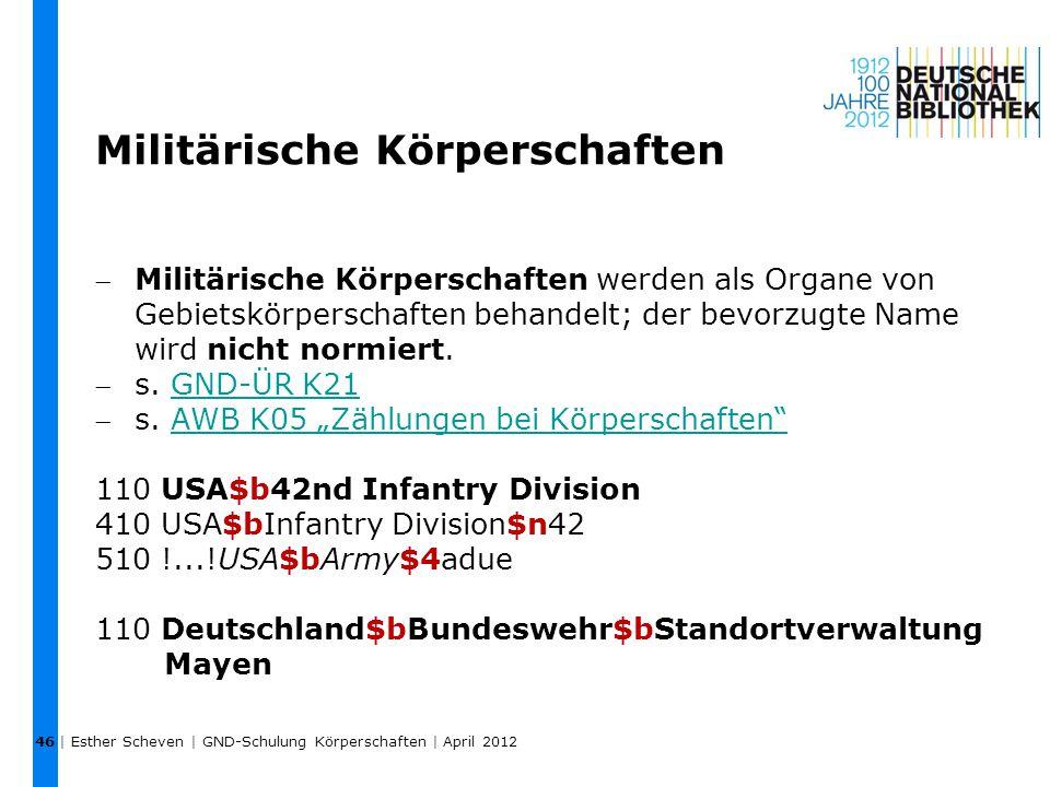 Militärische Körperschaften Militärische Körperschaften werden als Organe von Gebietskörperschaften behandelt; der bevorzugte Name wird nicht normier