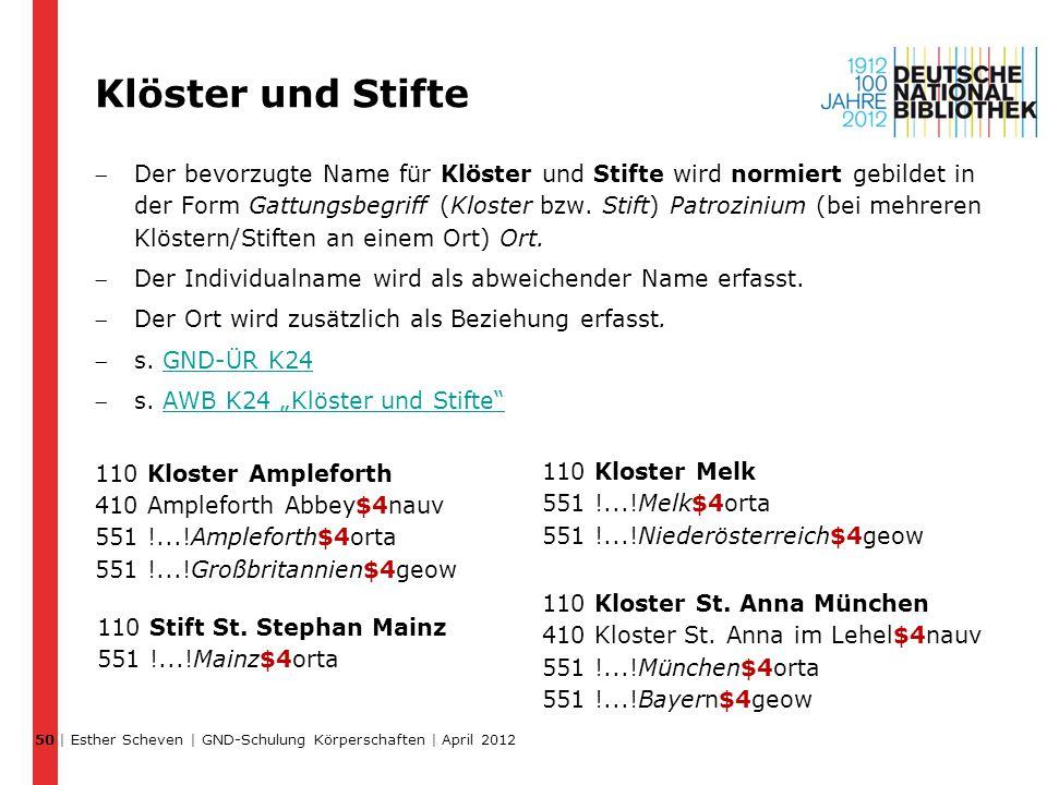 Klöster und Stifte Der bevorzugte Name für Klöster und Stifte wird normiert gebildet in der Form Gattungsbegriff (Kloster bzw. Stift) Patrozinium (be