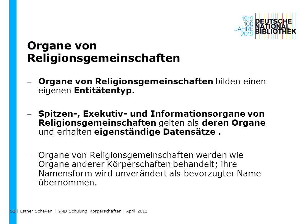 Organe von Religionsgemeinschaften Organe von Religionsgemeinschaften bilden einen eigenen Entitätentyp.
