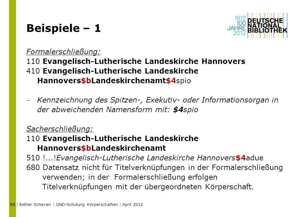 Beispiele – 1 Formalerschließung: 110 Evangelisch-Lutherische Landeskirche Hannovers 410 Evangelisch-Lutherische Landeskirche Hannovers$bLandeskirchen