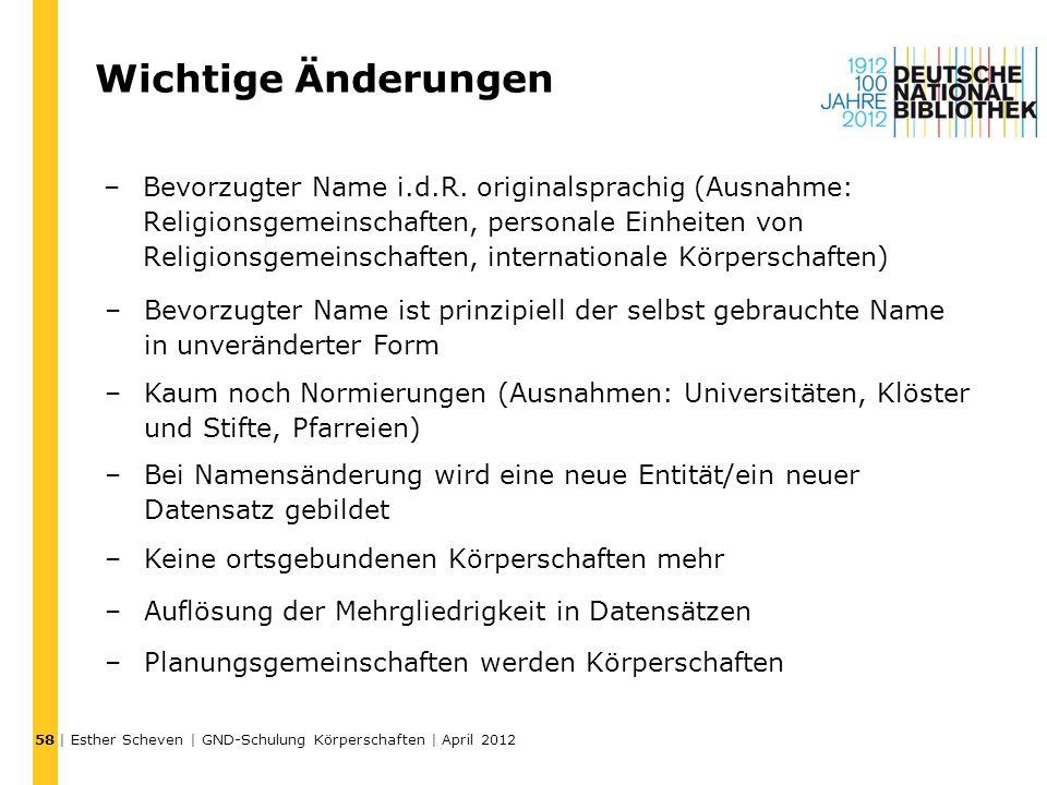 Wichtige Änderungen –Bevorzugter Name i.d.R. originalsprachig (Ausnahme: Religionsgemeinschaften, personale Einheiten von Religionsgemeinschaften, int