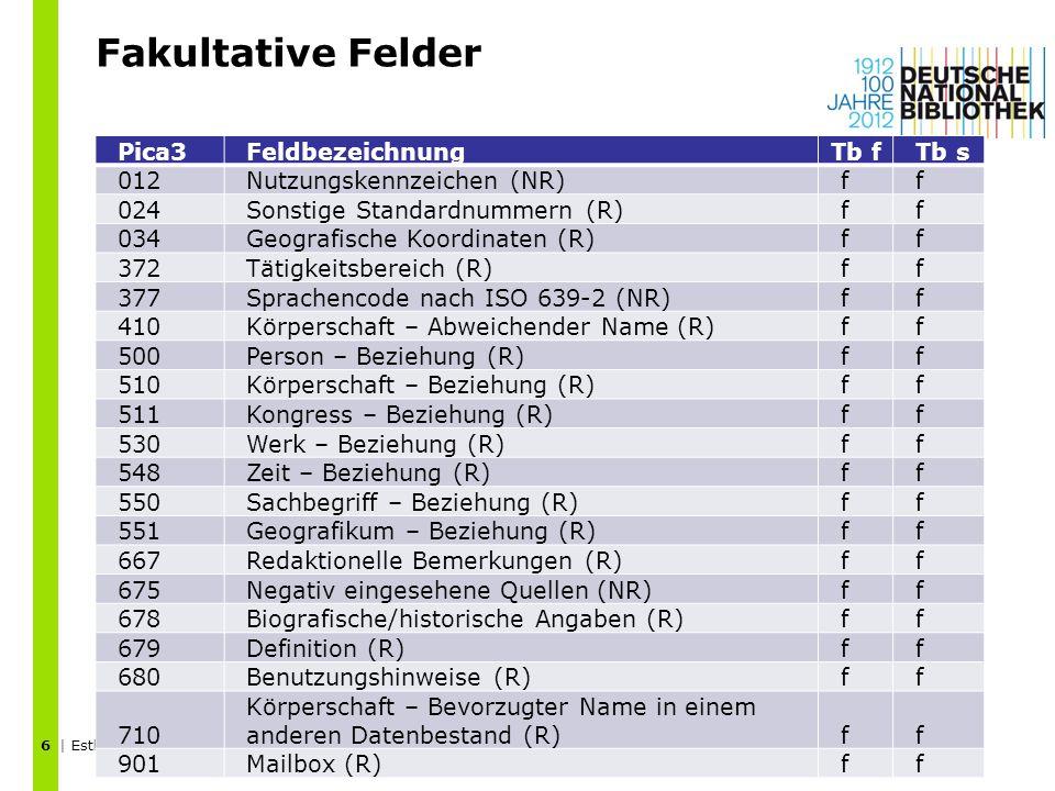 Fakultative Felder | Esther Scheven | GND-Schulung Körperschaften | April 2012 6 Pica3FeldbezeichnungTb fTb s 012Nutzungskennzeichen (NR)ff 024Sonstig