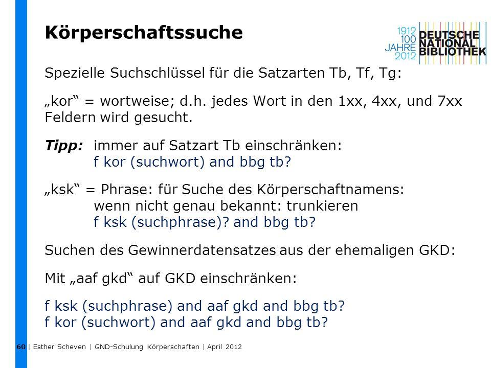 """Körperschaftssuche Spezielle Suchschlüssel für die Satzarten Tb, Tf, Tg: """"kor"""" = wortweise; d.h. jedes Wort in den 1xx, 4xx, und 7xx Feldern wird gesu"""