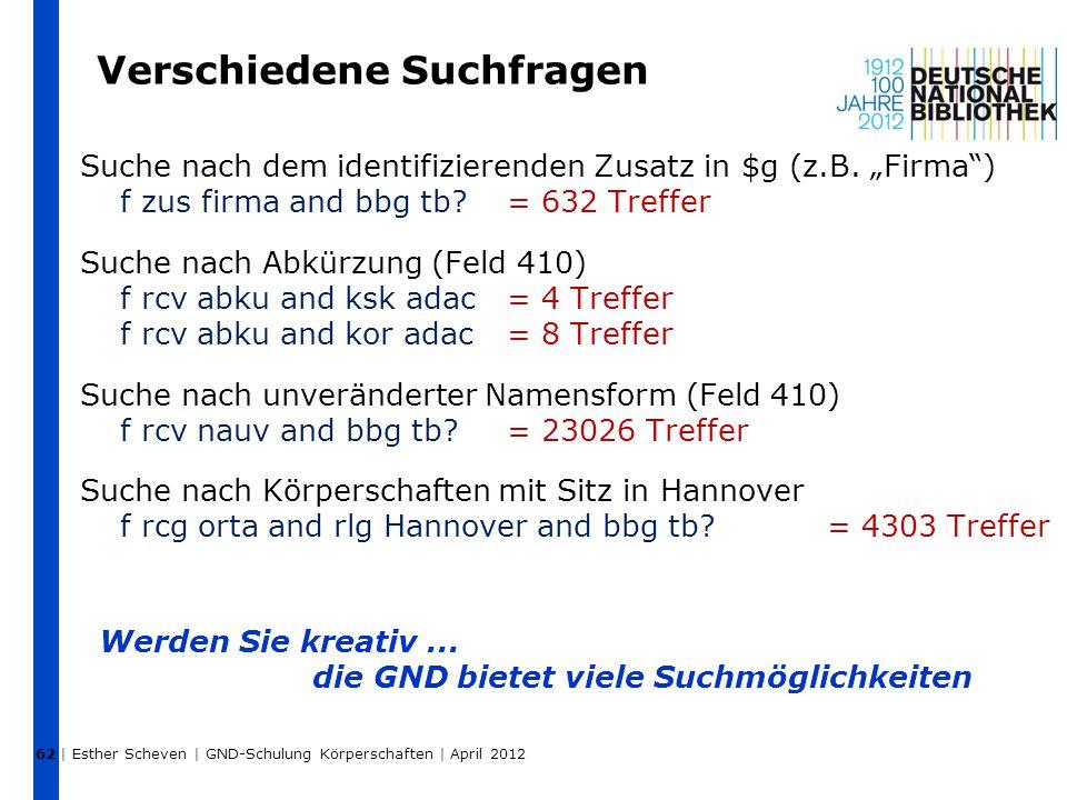 """Verschiedene Suchfragen Suche nach dem identifizierenden Zusatz in $g (z.B. """"Firma"""") f zus firma and bbg tb?= 632 Treffer Suche nach Abkürzung (Feld 4"""