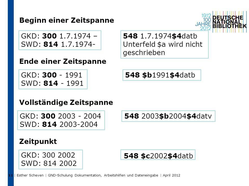 | Esther Scheven | GND-Schulung Dokumentation, Arbeitshilfen und Dateneingabe | April 2012 11 548 $c2002$4datb GKD: 300 1.7.1974 – SWD: 814 1.7.1974-