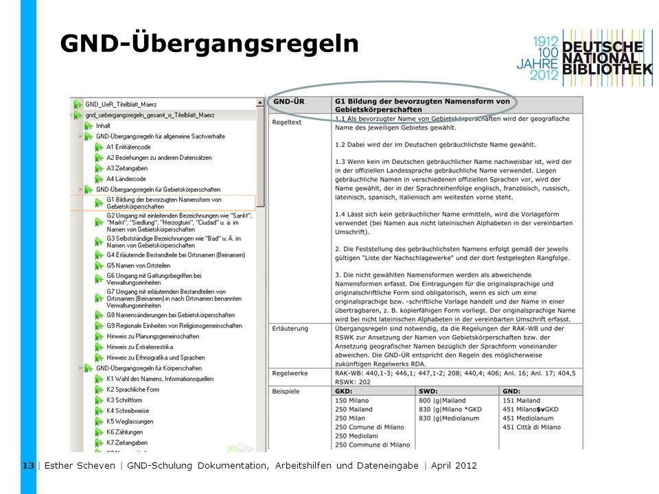 GND-Übergangsregeln | Esther Scheven | GND-Schulung Dokumentation, Arbeitshilfen und Dateneingabe | April 2012 13