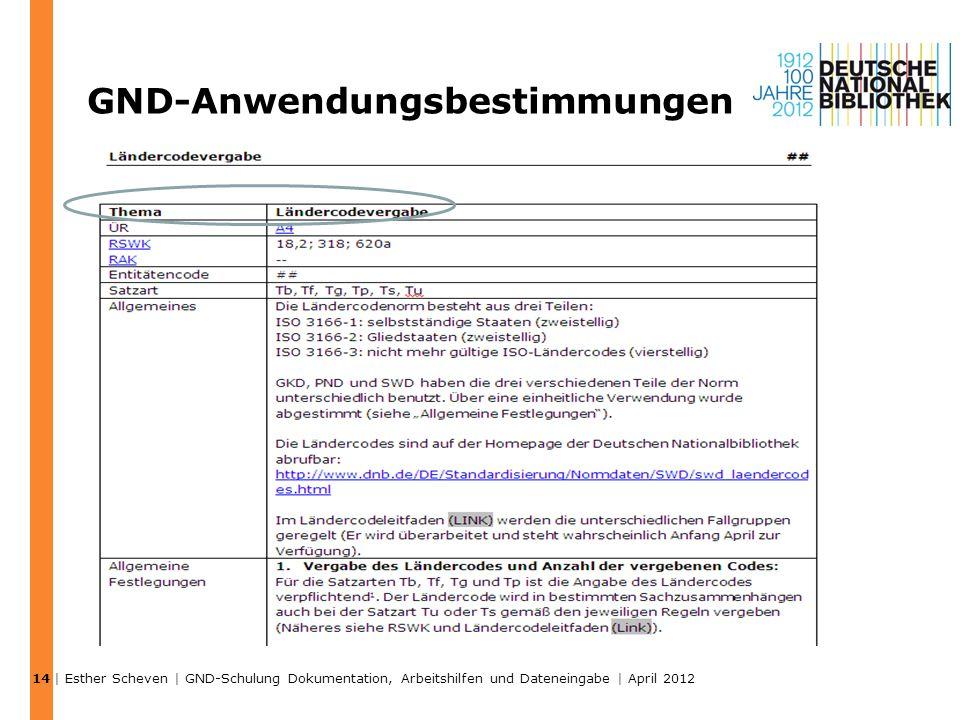 GND-Anwendungsbestimmungen | Esther Scheven | GND-Schulung Dokumentation, Arbeitshilfen und Dateneingabe | April 2012 14