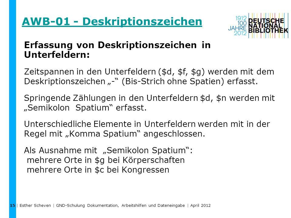 AWB-01 - Deskriptionszeichen | Esther Scheven | GND-Schulung Dokumentation, Arbeitshilfen und Dateneingabe | April 2012 15 Erfassung von Deskriptionsz