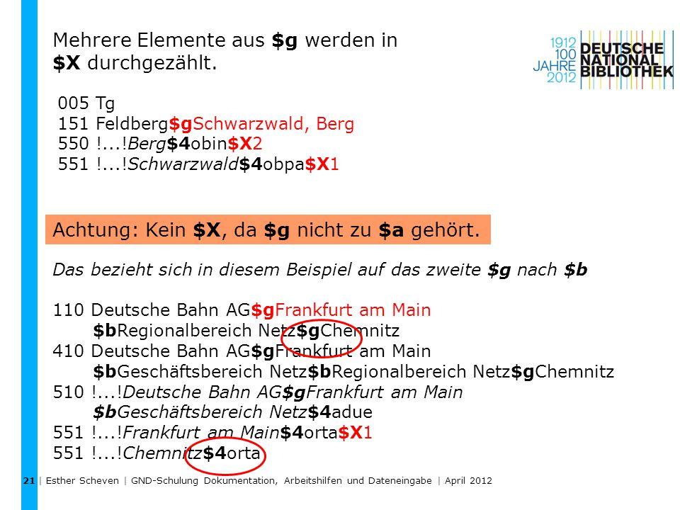 | Esther Scheven | GND-Schulung Dokumentation, Arbeitshilfen und Dateneingabe | April 2012 21 005 Tg 151 Feldberg$gSchwarzwald, Berg 550 !...!Berg$4ob