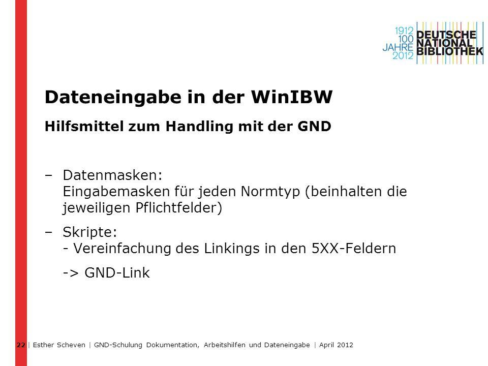 Dateneingabe in der WinIBW Hilfsmittel zum Handling mit der GND –Datenmasken: Eingabemasken für jeden Normtyp (beinhalten die jeweiligen Pflichtfelder