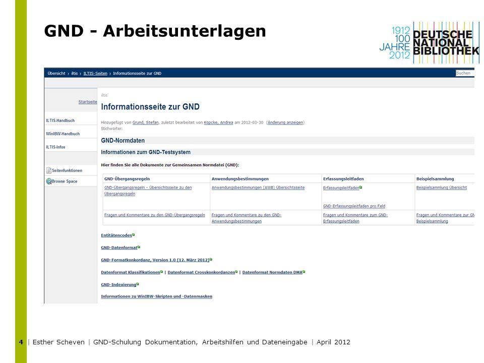 GND - Arbeitsunterlagen | Esther Scheven | GND-Schulung Dokumentation, Arbeitshilfen und Dateneingabe | April 2012 4
