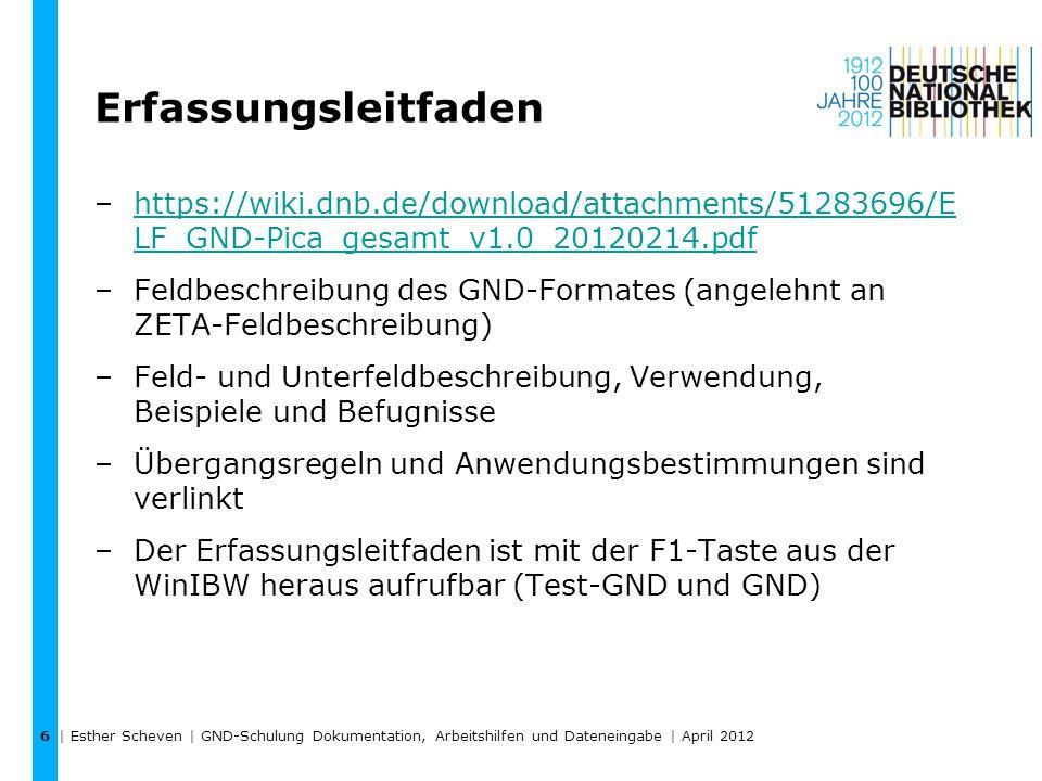 Erfassungsleitfaden –https://wiki.dnb.de/download/attachments/51283696/E LF_GND-Pica_gesamt_v1.0_20120214.pdfhttps://wiki.dnb.de/download/attachments/