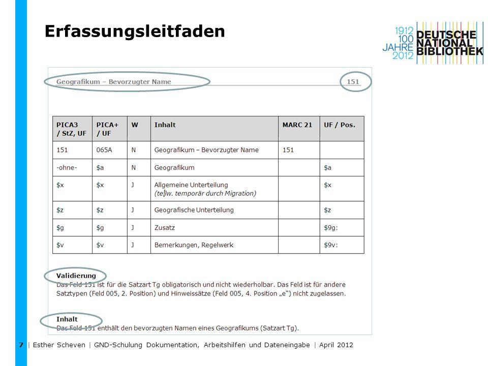 Erfassungsleitfaden | Esther Scheven | GND-Schulung Dokumentation, Arbeitshilfen und Dateneingabe | April 2012 7
