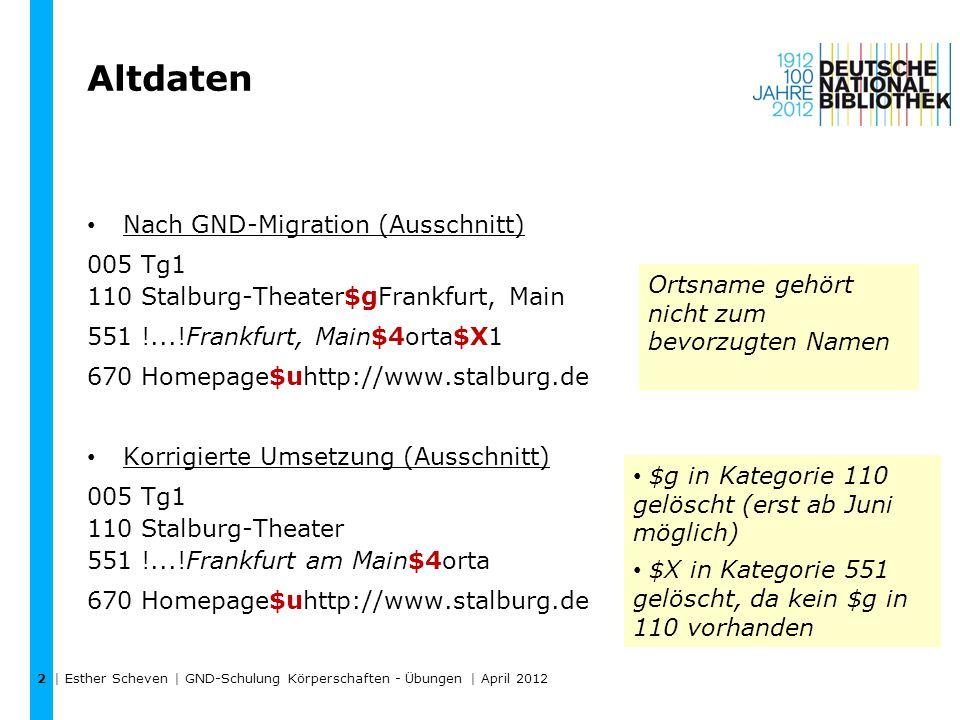Altdaten Nach GND-Migration (Ausschnitt) 005 Tg1 110 Stalburg-Theater$gFrankfurt, Main 551 !...!Frankfurt, Main$4orta$X1 670 Homepage$uhttp://www.stalburg.de Korrigierte Umsetzung (Ausschnitt) 005 Tg1 110 Stalburg-Theater 551 !...!Frankfurt am Main$4orta 670 Homepage$uhttp://www.stalburg.de | Esther Scheven | GND-Schulung Körperschaften - Übungen | April 2012 2 Ortsname gehört nicht zum bevorzugten Namen $g in Kategorie 110 gelöscht (erst ab Juni möglich) $X in Kategorie 551 gelöscht, da kein $g in 110 vorhanden