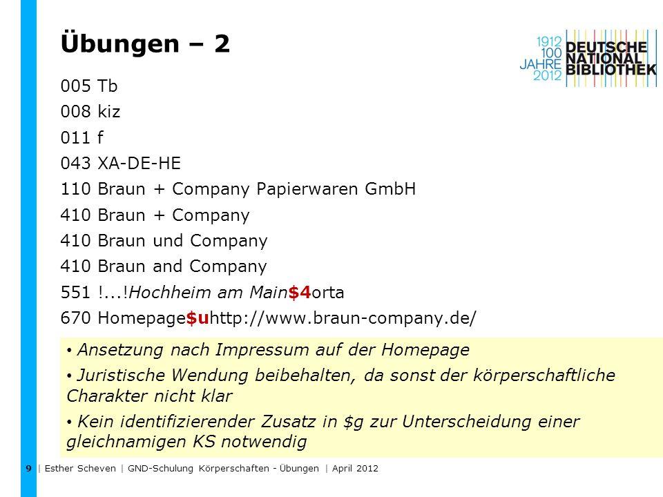 Übungen – 3 | Esther Scheven | GND-Schulung Körperschaften - Übungen | April 2012 10 http://www.geographie.uni-bremen.de/ http://www.uni-leipzig.de/geographie/