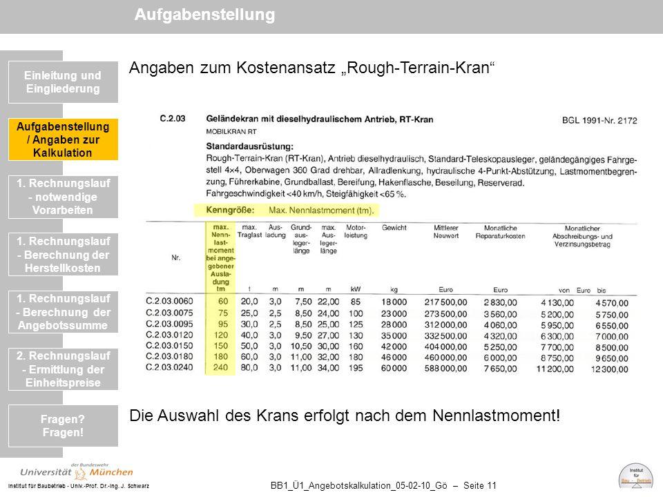 """Institut für Baubetrieb - Univ.-Prof. Dr.-Ing. J. Schwarz BB1_Ü1_Angebotskalkulation_05-02-10_Gö – Seite 11 Angaben zum Kostenansatz """"Rough-Terrain-Kr"""