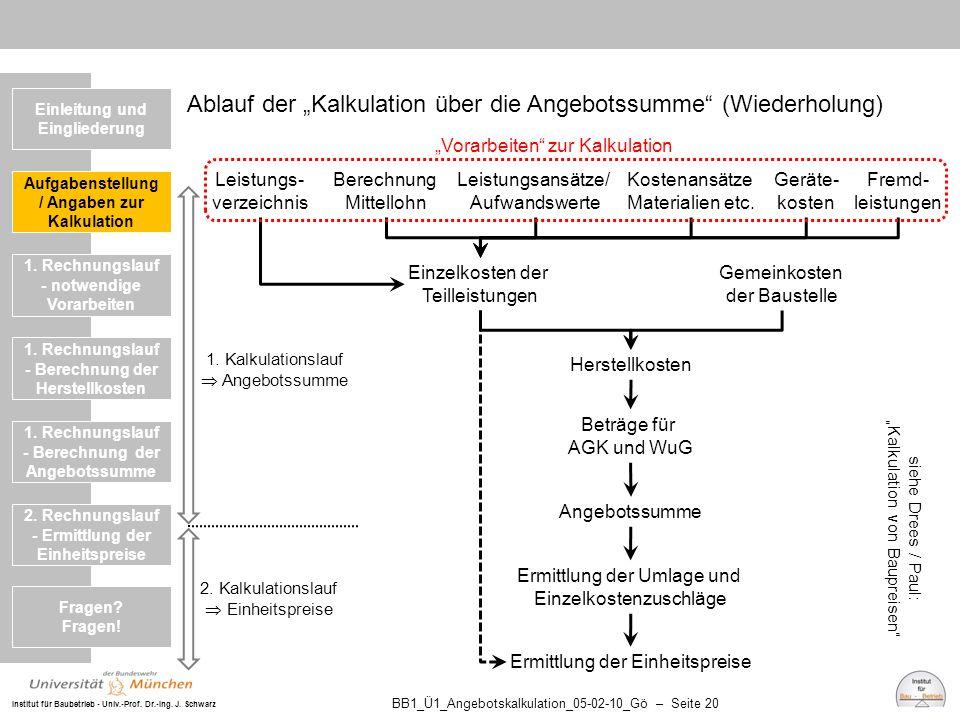 """Institut für Baubetrieb - Univ.-Prof. Dr.-Ing. J. Schwarz BB1_Ü1_Angebotskalkulation_05-02-10_Gö – Seite 20 Ablauf der """"Kalkulation über die Angebotss"""