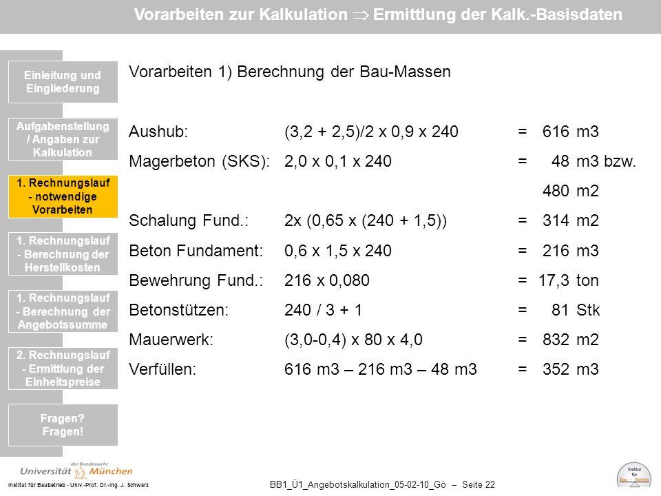 Institut für Baubetrieb - Univ.-Prof. Dr.-Ing. J. Schwarz BB1_Ü1_Angebotskalkulation_05-02-10_Gö – Seite 22 Vorarbeiten 1) Berechnung der Bau-Massen A