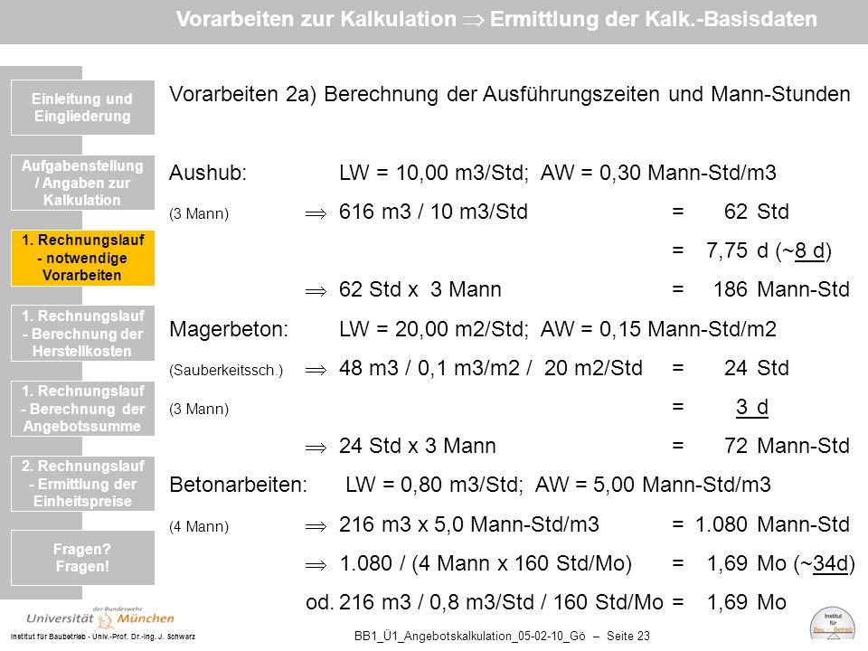 Institut für Baubetrieb - Univ.-Prof. Dr.-Ing. J. Schwarz BB1_Ü1_Angebotskalkulation_05-02-10_Gö – Seite 23 Vorarbeiten 2a) Berechnung der Ausführungs