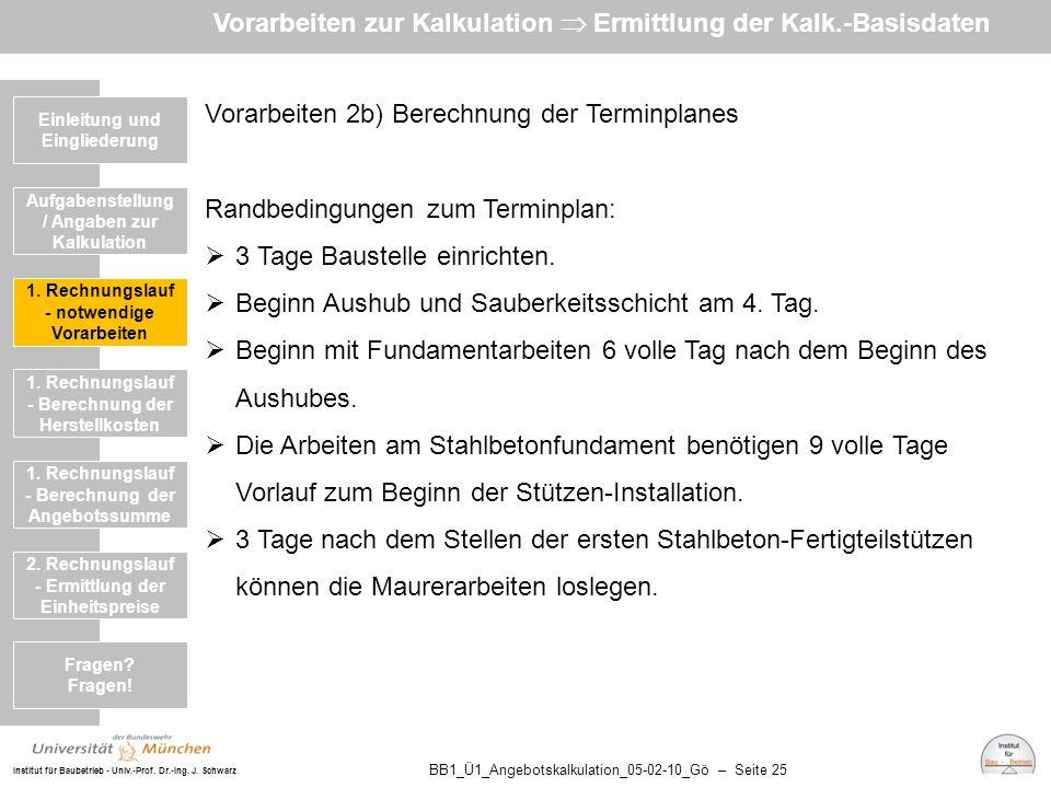 Institut für Baubetrieb - Univ.-Prof. Dr.-Ing. J. Schwarz BB1_Ü1_Angebotskalkulation_05-02-10_Gö – Seite 25 Vorarbeiten 2b) Berechnung der Terminplane