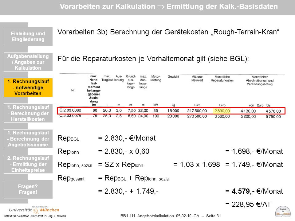 Institut für Baubetrieb - Univ.-Prof. Dr.-Ing. J. Schwarz BB1_Ü1_Angebotskalkulation_05-02-10_Gö – Seite 31 Vorarbeiten 3b) Berechnung der Gerätekoste