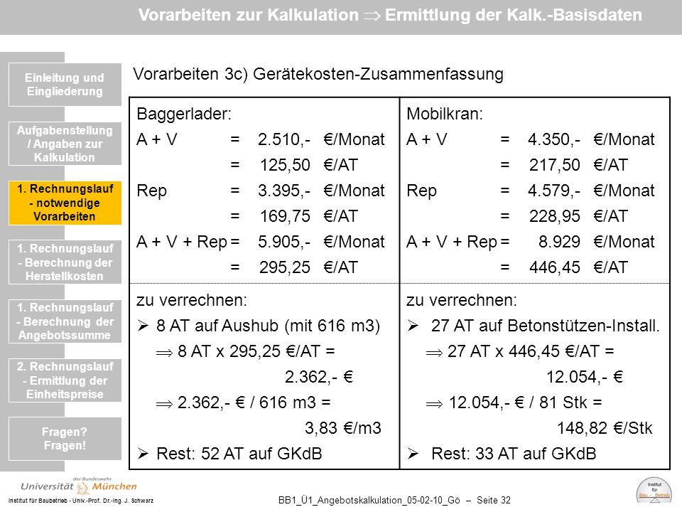 Institut für Baubetrieb - Univ.-Prof. Dr.-Ing. J. Schwarz BB1_Ü1_Angebotskalkulation_05-02-10_Gö – Seite 32 Vorarbeiten 3c) Gerätekosten-Zusammenfassu