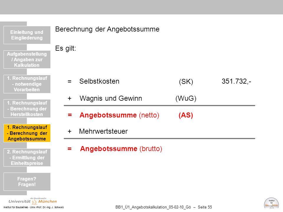 Institut für Baubetrieb - Univ.-Prof. Dr.-Ing. J. Schwarz BB1_Ü1_Angebotskalkulation_05-02-10_Gö – Seite 55 Berechnung der Angebotssumme Es gilt: Einl