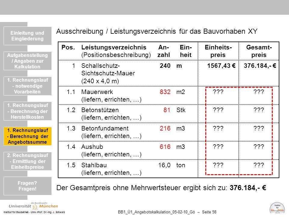 Institut für Baubetrieb - Univ.-Prof. Dr.-Ing. J. Schwarz BB1_Ü1_Angebotskalkulation_05-02-10_Gö – Seite 58 Ausschreibung / Leistungsverzeichnis für d