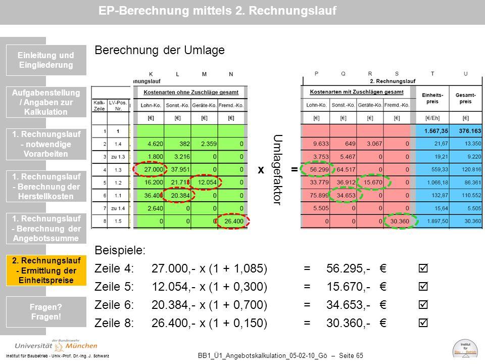 Institut für Baubetrieb - Univ.-Prof. Dr.-Ing. J. Schwarz BB1_Ü1_Angebotskalkulation_05-02-10_Gö – Seite 65 Einleitung und Eingliederung Berechnung de