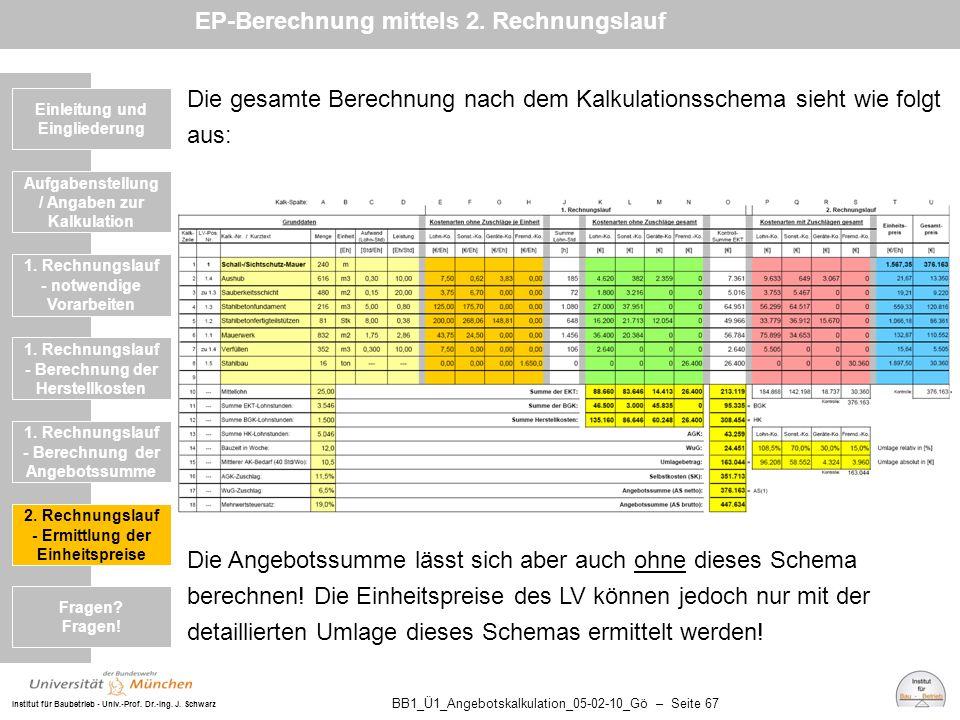 Institut für Baubetrieb - Univ.-Prof. Dr.-Ing. J. Schwarz BB1_Ü1_Angebotskalkulation_05-02-10_Gö – Seite 67 Einleitung und Eingliederung Die gesamte B