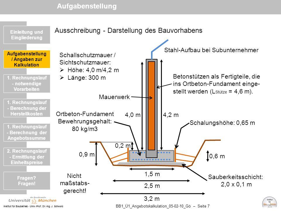 Institut für Baubetrieb - Univ.-Prof. Dr.-Ing. J. Schwarz BB1_Ü1_Angebotskalkulation_05-02-10_Gö – Seite 7 Ausschreibung - Darstellung des Bauvorhaben