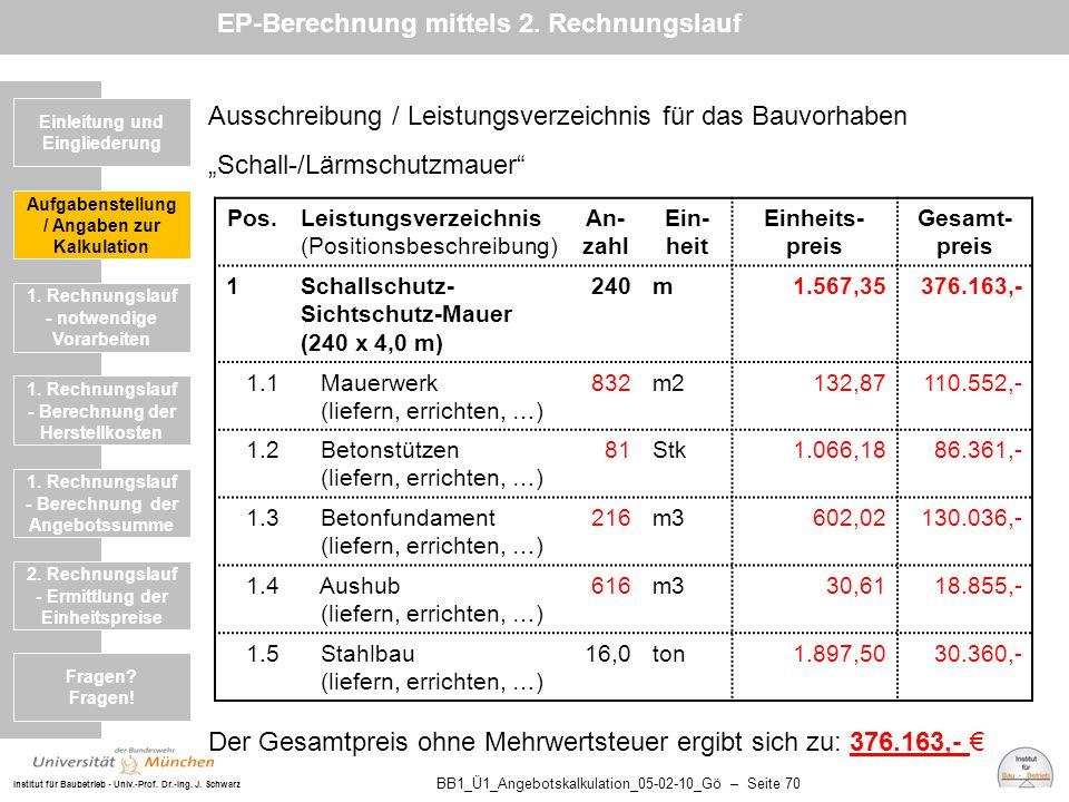 Institut für Baubetrieb - Univ.-Prof. Dr.-Ing. J. Schwarz BB1_Ü1_Angebotskalkulation_05-02-10_Gö – Seite 70 Ausschreibung / Leistungsverzeichnis für d